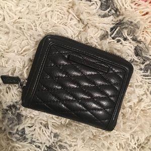 Rebecca Minkoff half zip black leather wallet